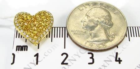 Mini Yellow Sapphire & Diamond Heart Pendant Stone