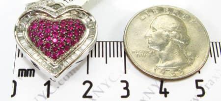 Mini Baguette Heart Pendant Stone