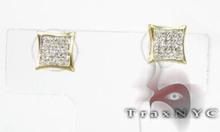 Yellow Gold Mini SQ Earrings Stone