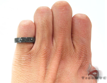 4 Row Black Diamond Ring 20436 Stone