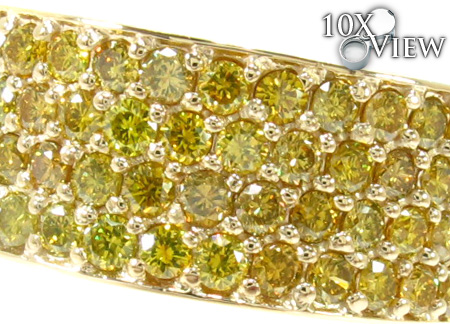 4 Row Canary Color Diamond Band Stone