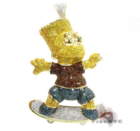 Custom Jewelry - Bart Simpson Pendant Diamond Pendants