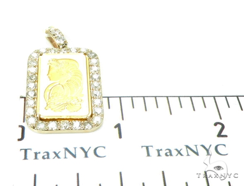 5 Gram Gold Pamp Suisse Bar Diamond Pendant 2 Metal
