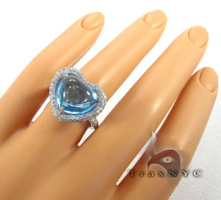 Blue Topaz Heart Ring Anniversary/Fashion