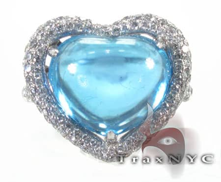 Blue Topaz Heart Ring 1.10 ct