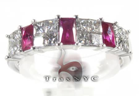 2 Row Prong Ruby Ring Anniversary/Fashion