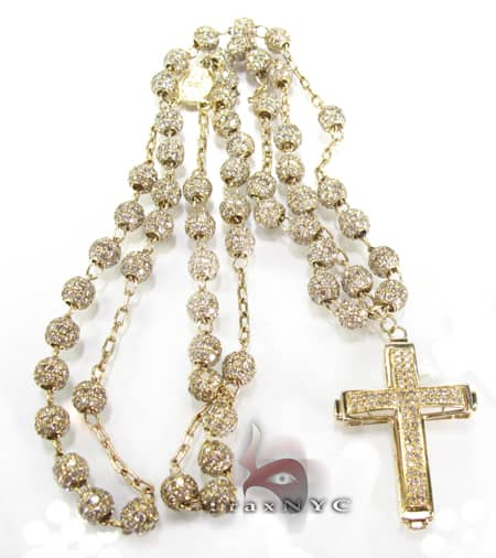 Iced Rosary Chain and Cross 32 Inches, 6mm, 33 Grams Rosary