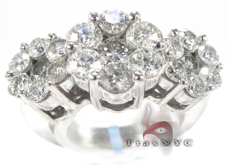 White Gold 3 Row Flower Ring Engagement