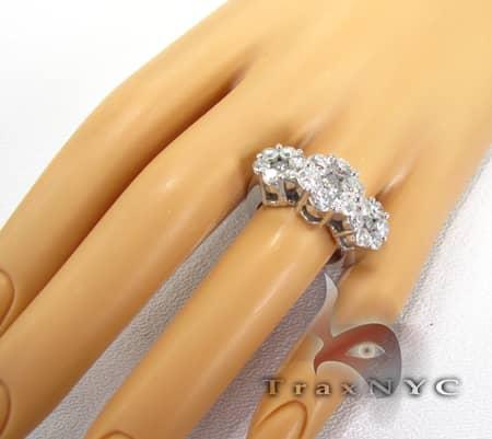 White Gold 3 Row Flower Ring Engagement