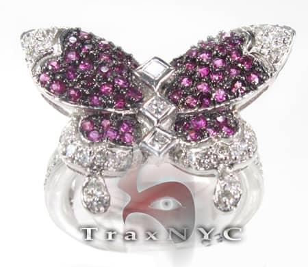 18K White Gold & Purple Diamond Butterfly Ring Anniversary/Fashion