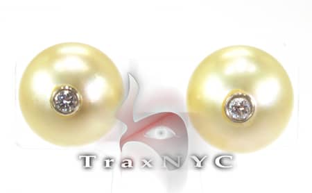 Golden South Sea Pearl Earrings Stone
