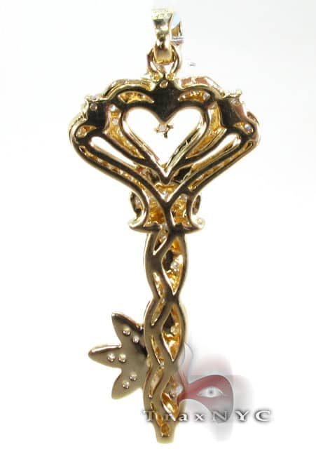 Golden Flower Key Pendant Stone