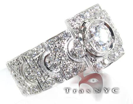 Diamond Gold Link Ring 6113 Stone