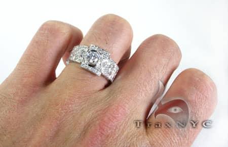 Diamond Gold Link Ring 6113 Stone