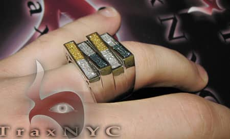 Hip Hop Jewelry - Tri-Color EX1 Ring Stone