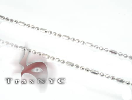 White Beaded Hammer Chain 18 Inches, 1mm, 1.4 Grams Gold