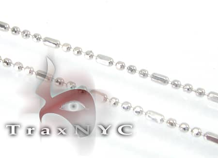White Gold Beaded Chain 20 Inches, 1mm, 1.7 Grams Gold