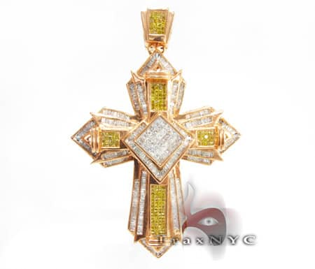 Arrowhead Canary Cross Mens Diamond Cross