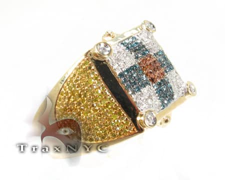 Multi Colored Carribean Ring Mens Diamond Rings