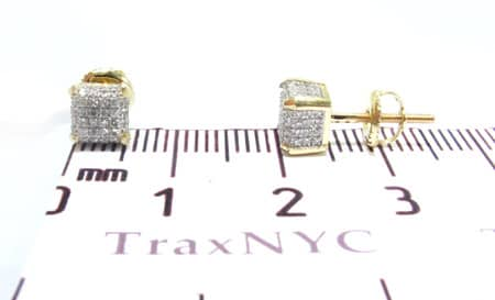 Yellow Gold Ice Cube Earrings Stone