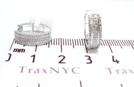 Ladies 4 Row Hoop Diamond Earrings Style