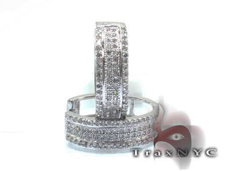 Ladies 4 Row Hoop Diamond Earrings Style