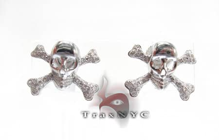 Mens Skull and Bones Diamond Earrings Stone