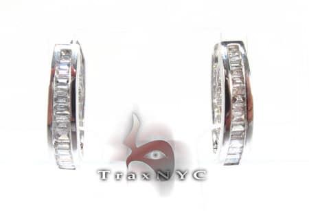 Ladies Hoop Baguette Diamond Earrings Style
