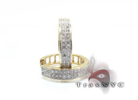 Ladies Yellow Gold 2 Row Diamond Hoop Earrings Style