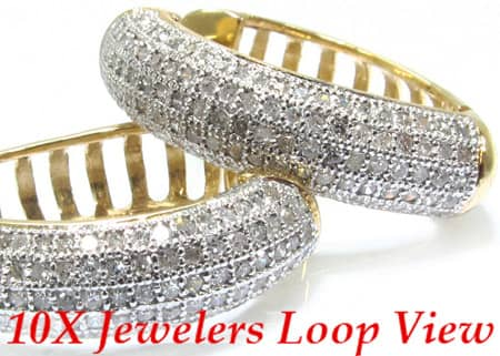 Ladies Yellow Gold Ribbed Diamond Earrings Stone