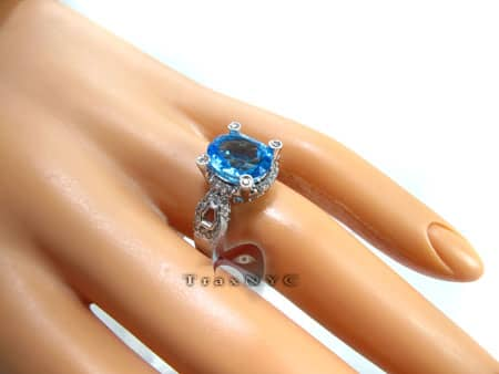 Blue Topaz & Diamond Ring Anniversary/Fashion