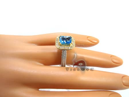 Ladies Two Tone Topaz Ring Anniversary/Fashion