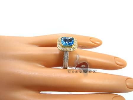 Ladies Two Tone Topaz Ring Anniversary/Fashion