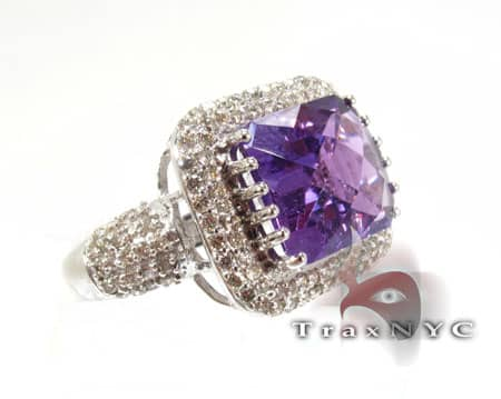 Amethyst Flash Ring Gemstone Diamond Rings