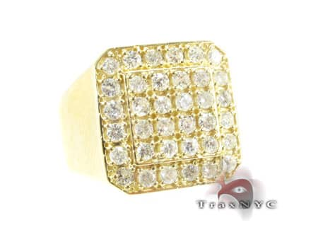 TraxNYC Light 14k Yellow Gold Ring Mens Diamond Rings
