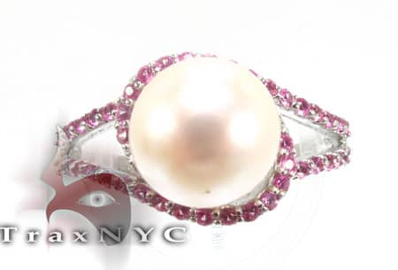 Pink Sapphire Pearl Ring Anniversary/Fashion
