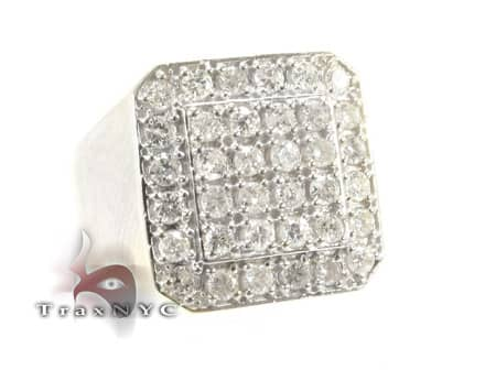 TraxNYC Light 14k White Gold Ring Mens Diamond Rings