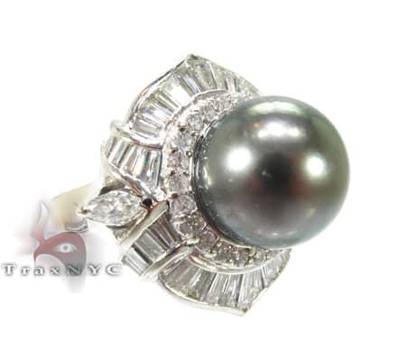Green Pearl Focal Ring 真珠 ダイヤモンド リング