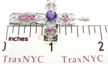 Ladies Pinlk Sapphire & Amethyst Cross Style