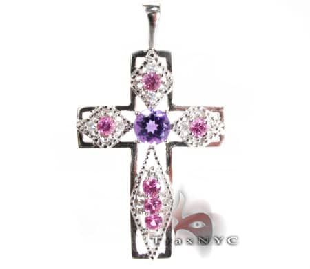 Ladies Gemstone Cross Diamond Cross Pendants