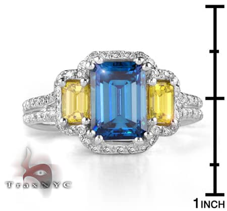 Ladies Blue & Canary Bridge Ring Anniversary/Fashion