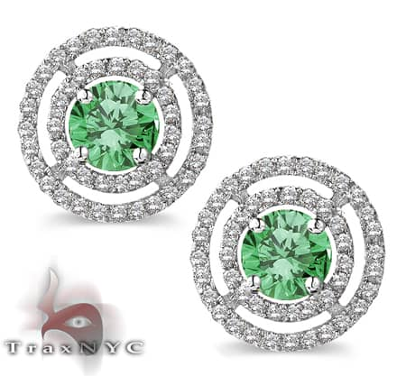 Ladies Green Saucer Earrings Stone
