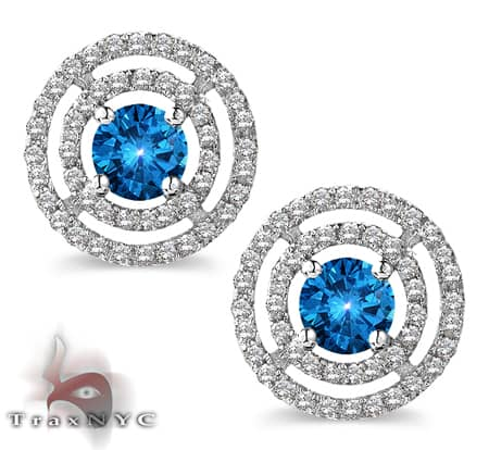 Ladies Blue Saucer Earrings 2 Style