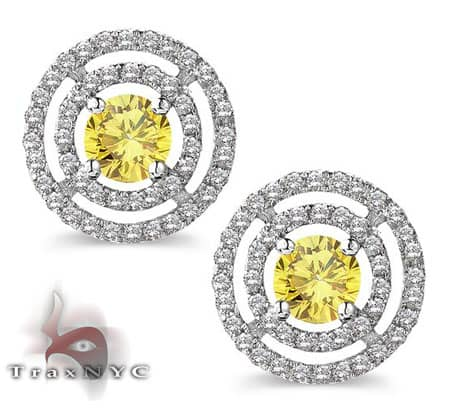 Ladies Canary Saucer Earrings 2 Stone