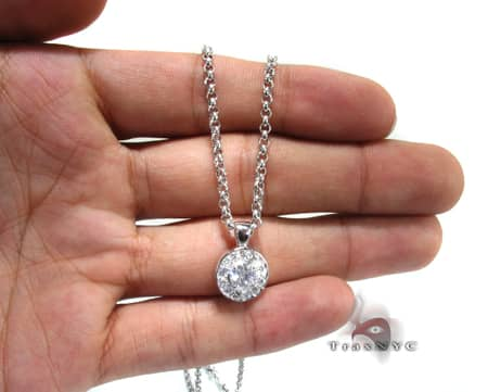 Circle Prong Necklace Stone