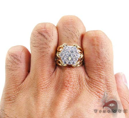 Mens Round Armour CZ Ring Metal