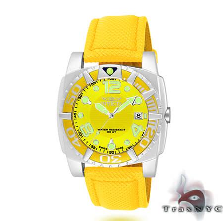 Pro Diver Aluminum QTZ Yellow Mesh Invicta Watches