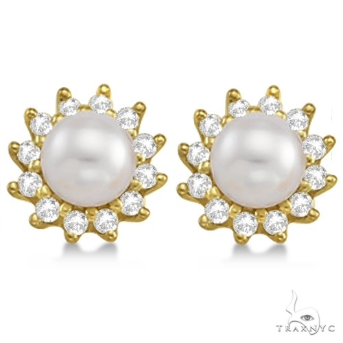 Akoya Cultured Pearl and Diamond Halo Earrings 14K Yellow Gold (6mm) Stone