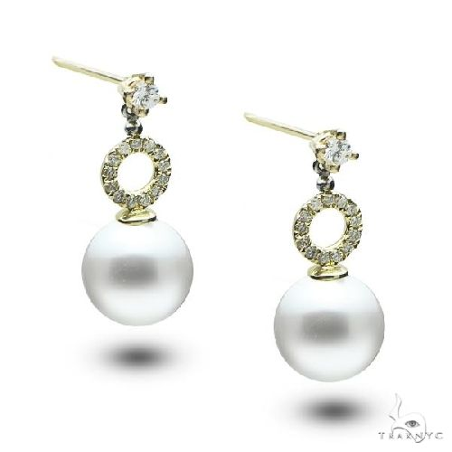 Akoya Pearl Drop Earrings w/ Diamond Accents 14k Yellow Gold Stone