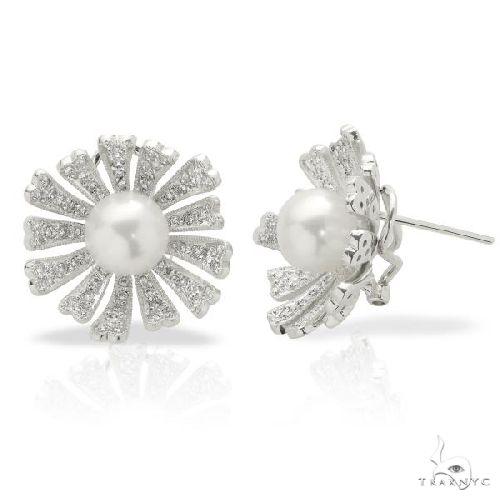 Akoya Pearl and Diamond Flower Earrings Set in 18k White Gold 8-8.5mm Stone
